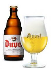 Duvel glass full beer with bottle aside