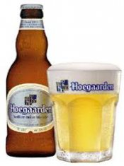 hoegaarden white beer and glass