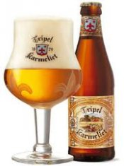 karmeliet tripel full glass and the bottle