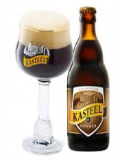 brown kasteel glass and bottlel beer