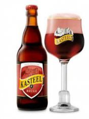 kasteel rouge beer glass and bottle