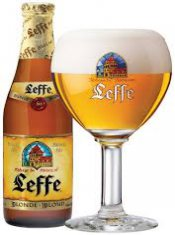 Leffe blond beer glass and bottle together