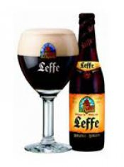 leffe brown served in a glass with aside bottle