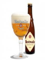 westmalle trippel glass and bottle